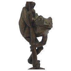 Frog Bronze Sculpture Figure by Paul Jenkins Vintage c1980