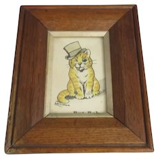 Louis Wain Cat in Top Hat Framed Print c1920