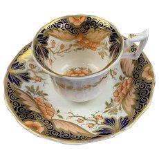English Imari Porcelain Cup And Saucer Antique 19th Century