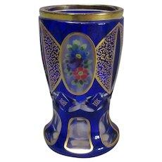 Blue Overlay Cut Crystal Bohemian Goblet Vintage