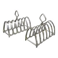 Pair Small Silver Plated Toast Racks Antique c1910