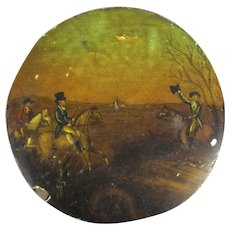 Pot Lid Top With Printed Horse Riding Scene Antique 19th Century