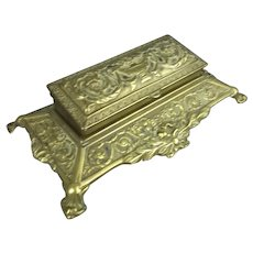 Ornate Cast Brass Stamp Box Antique c1910