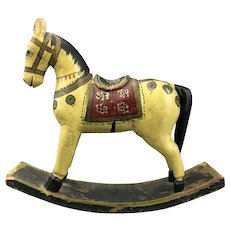 Smaller Carved Painted Rocking Horse Vintage c1950