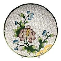 Cloisonne Plate Dish Flower Gold Decoration Antique Victorian c1880