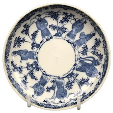 Small Chinese Blue White Saucer Dish Antique Georgian 18th Century