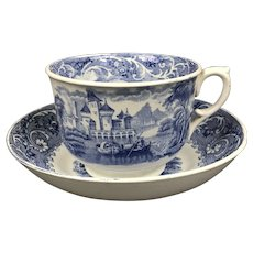 Blue White Large Tea Cup & Saucer Antique Georgian c1820