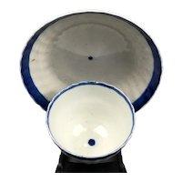 Harley Tea White & Blue Bowl & Saucer Antique Georgian c1780