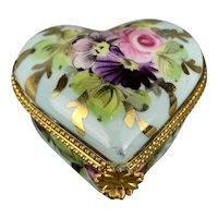 Heart Shape Painted Pill Box Vintage Art Deco c1930