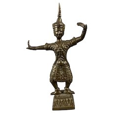 Bronze Thai Dancing Goddess Statue Antique Victorian c1890