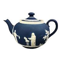 Blue White Adams Tunstall Jasperware Tea Pot Antique Victorian c1900