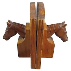 Pair Hand Carved Horse Head Book Ends Vintage c1960
