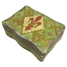 Small French Decorated Trinket Box Antique c1870