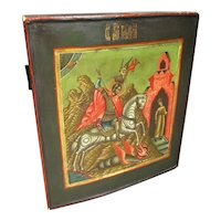Russian Painted Icon of Saint George & The Dragon Antique 19th Century