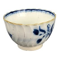 Blue & White Wrythen Tea Bowl English Antique Georgian c1790