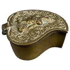 Brass Metal Leaf Shape Indian Spice Box Vintage Mid Century c1950