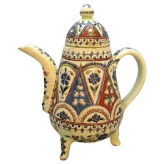 Thoune Majolica Earthenware Coffee Pot by Musee Ceramique Antique c1890.