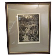Framed Woodcut Print 'Fox' By William Wild Vintage 1980