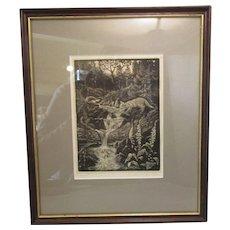 Framed Woodcut Print 'Fox' By William Wild Vintage 1980
