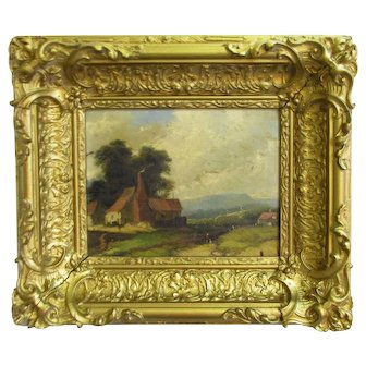 Smaller Antique 19th Century English School Rural Scene Oil on Canvas
