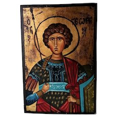 Painting Of Greek Icon On Wood Vintage 20th Century.