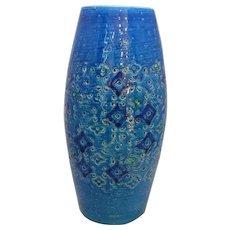 Vintage Mid Century Blue Bitossi Rimini Art Vase by Aldo Londi c1960s.