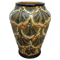Antique Victorian Majolica Art Pottery Vase by Gerbing & Stephen c1890-1906.