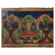 Tibetan Hand Painted Sutra Page Antique 19th Century