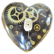 Vintage Mid Century Modern Resin Cast Horology Heart attributed to Pierre Giraudon c.1970s