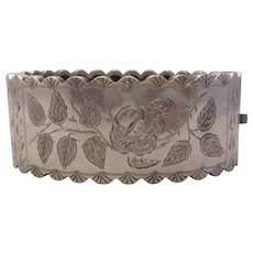 Sterling Silver Bangle  Cuff Engraved Rose Antique Victorian