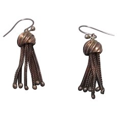 Silver Dangle Earrings With Tassles Antique Victorian