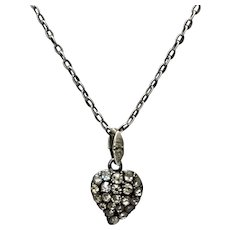 Silver And Paste Puffy Witches Heart Pendant Antique Georgian