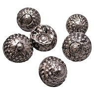 Six Sterling Silver Buttons Antique Georgian C.1830