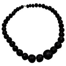 English Whitby Jet Carved Bead Necklace Antique Victorian