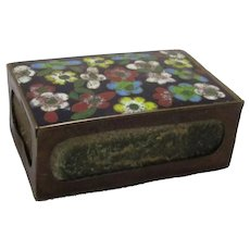 Chinese Cloissone Matchbox Cover Antique Edwardian c1910.