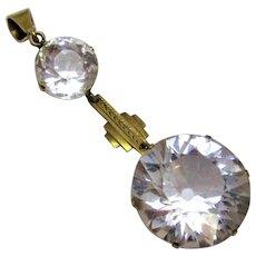 9ct Gold & Rock Crystal Double Drop Pendant Antique Art Deco.