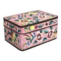 Chinese Pink Enamel Cloisonne Box Cherry Blossom Art Deco Vintage c1930
