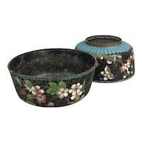 Pair Of Chinese Black Turquoise Enamel Cloisonne Flower Bowls Vintage Art Deco c1930