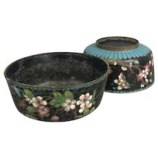 Pair Of Chinese Black Turquoise Enamel Cloisonne Flower Bowls Vintage Art Deco c1930