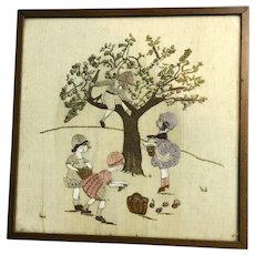 Embroidery Children Collecting Apples By Wounded Prisoner Of War Antique World War I c1916