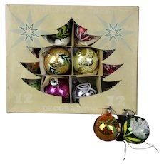 Box of 12 Hand Decorated Glass Christmas Baubles Balls Vintage c1950