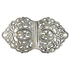 Silver Plated Ladies Nurse Belt Buckle Antique c1910