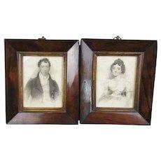 Pair Of Portraits In Rosewood Frames Antique Georgian c1840