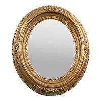 Carved Decorated Wooden Oval Wall Mirror Bronze Painted Victorian Antique c1900