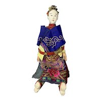 Wood Chinese Opera Doll Hand Painted Antique Early 20th Century