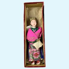 Wood And Silk Chinese Opera Doll Hand Painted Antique Early 20th Century