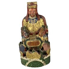 Wooden Chinese House God Hand Painted Antique Early 20th Century