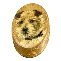 Wooden Brooch Hand Painted Terrier Vintage c1950