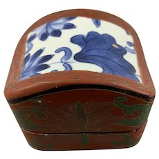 Chinese Wooden Lacquer And Porcelain Top Box Hand Decorate Vintage c1930