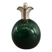 Hand Blow Green Glass Decanter With Sterling Silver Top Antique Art Deco London 1907